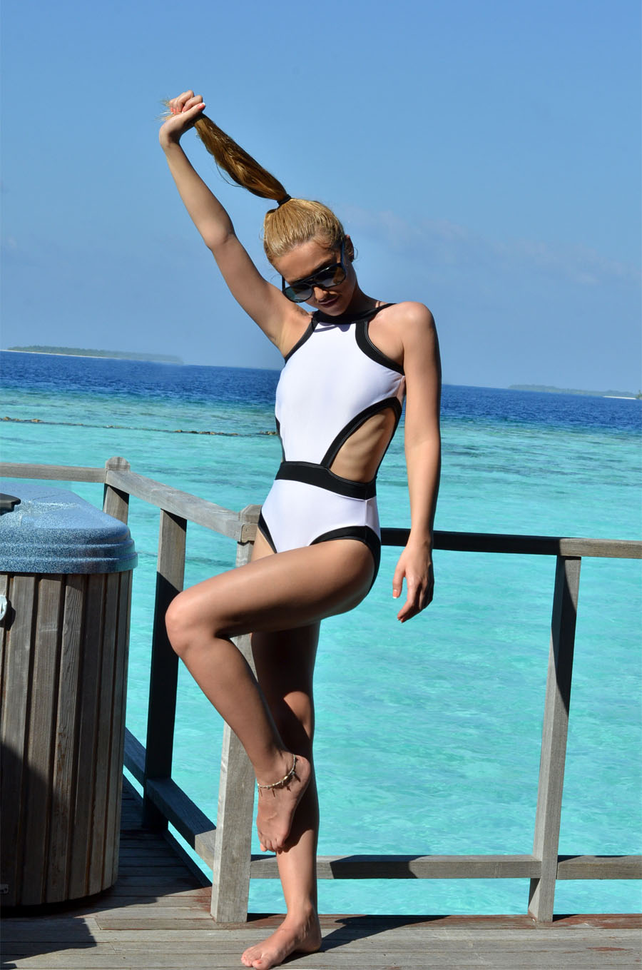 One Piece Black And White Swimsuit – Maldives Post